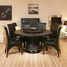 round dining table set design layout features top round dining table and dark brown leather dining chairs