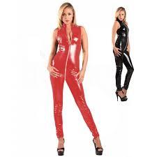 new pvc suit black red women faux leather catsuit front zipper to crotch bandage jumpsuit