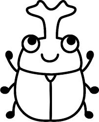 可愛いカブトムシの白黒イラスト イラストストック
