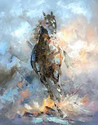 item detailspainting is not in a frame abstract horse painting on canvas created with palette knife