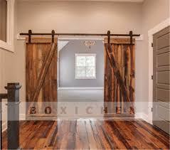 6 of 12 8ft steel sliding wood double barn door hardware closet pantry country rustic