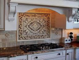 tile backsplash with large pattern in the middle