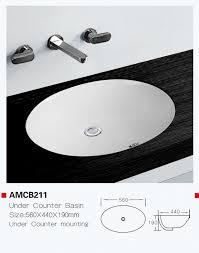 under counter oval shape bathroom sink