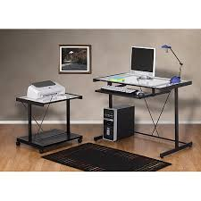 computer desk and printer cart value bundle black metal and glass black metal computer desk