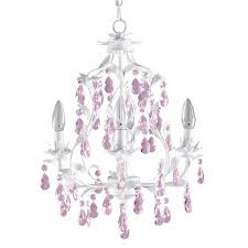 white and pink chandelier for girls room