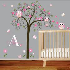 Perfect Picture Baby Girl Wall Decals For Nursery Moder Ideas Incredible  Owl Tree Branches Initial Name Kids