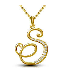 kataria jewellers letter s gold plated 92 5 sterling silver and swarovski alphabet initial pendant