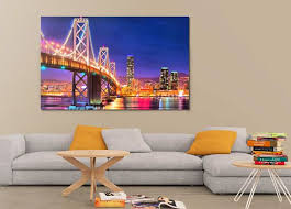 How To Decorate An Apartment Without Painting Unique San Francisco Night Bridge Canvas Large Art Painting Poster Wall