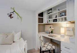white home office desk. All-white Home Office With Built-in Desk Wall Mural And Cozy Relaxing Sofa White