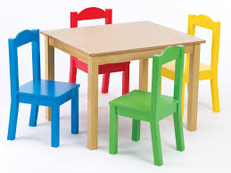 children s wooden table and 4 chair sets painted in blue red yellow and green