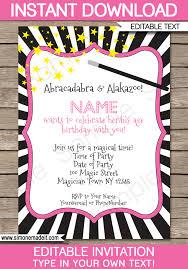 Magic Birthday Party Invitations Template Girls