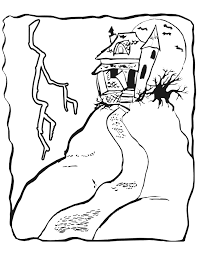 Small Picture Haunted House Coloring Page Haunted House On Hill