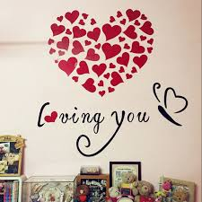 romantic loving you hearts design d acrylic wall stickers sweet valentine wedding wall decorations diy sticker