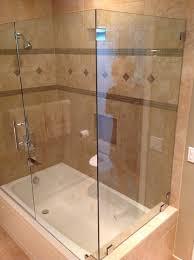 bathtub shower combination with glass enclosure