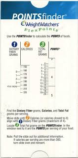 Weight Watchers Point Value Chart Weight Watchers Pointsfinder Flexpoints Cardboard Slide
