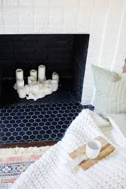A DIY Fireplace Makeover with Hexagon Tile