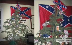 Its A Redneck Christmas. The submitter wrote: Decorations: stripper  magnets, bud cans and a confederate license plate as a tree topper.