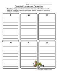 Students write the ending letters on the lines to complete the 10 words. Consonant Worksheets Have Fun Teaching Digraphs Worksheets Syllable Worksheet Double Consonants