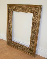 large antique style carved ornate vintage gilt wood mirror frame 4ft x 5ft