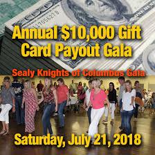 sealy knights of columbus 10 000 gift card payout gala
