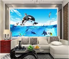 Aquarium Mural Design Us 14 34 50 Off 3d Room Wallpaper Custom Photo Mural Deep Sea Fish Aquarium Dolphin Picture Decor Painting 3d Wall Mural Wallpaper For Walls 3 D In