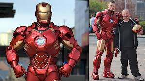 on the right iron man armour is actually made from 400 sheets of recyclable cardboard covered in fibreglass it won t protect him from s