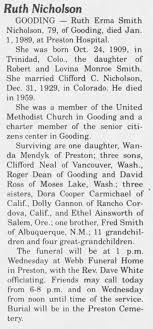 Obituary for Ruth Erma Smith Nicholson, 1909-1989 (Aged 79) | Archives |  magicvalley.com