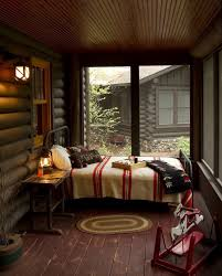 Log Cabin Bedroom Decor Cabin Cabin Decorating Idea For Bedroom With White Medium Bed