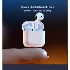 Tai nghe Bluetooth không dây Pro 4 tích hợp tất cả điện thoại Apple iPhone,  Samsung, Oppo, Xiaomi, Sony, VSmart chính hãng