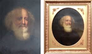 soot and dust on oil painting damaged artwork half cleaned portrait of man