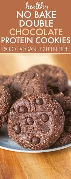 healthy no bake double chocolate cookies loaded with chocolate and protein but secretly healthy they