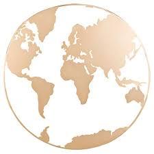 gold metal world map wall art 70x70
