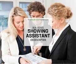 Real Estate Showing Assistant Job Description