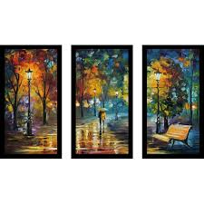 pictureperfectinternational soul of the rain by leonid afremov 3 piece framed painting print set reviews wayfair