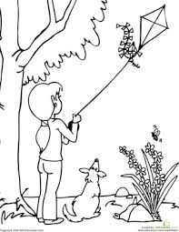 Small Picture Color the Kite Flying Scene Worksheet Educationcom