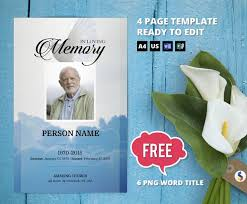 Microsoft Publisher Program Template Sky And Dove Funeral Program Template Obituary Program Memorial Program Template Microsoft Word And Publisher Template