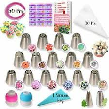 Details About 50pcs Russian Piping Nozzles Tulip Flower Cake Icing Decorating Tips Diy Baking