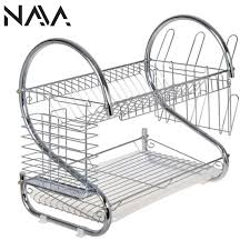 nava kitchen stainless steel 2 layer s shape dish rack set with tray