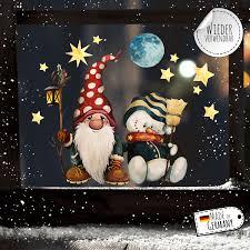 Fensterbild Weihnachtsdeko Weihnachten Zwerg Schneemann