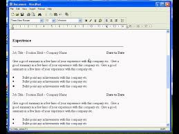Create A Resume In Wordpad Notepad Resume Template Resume Samples