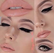barely there neutral eye shadow winged liner and apricot lips 1950 s makeup look