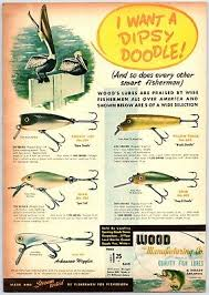 1948 Wood Manufacturing Co Old Fishing Lures Print Ad Color
