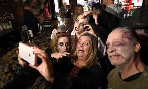 b mckinley center takes a selfie with some of her zombie friends from