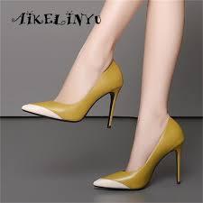 <b>AIKELINYU</b> 2019 <b>Genuine</b> Leather <b>Shoes Women</b> Pumps Spring ...