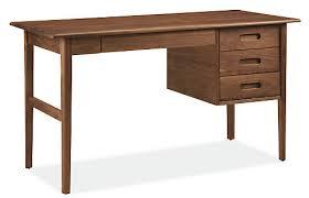 Modern desk office Walnut Henning 56w 24d 30h Desk Room Board Henning Modern Desk Modern Desks Tables Modern Office