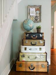 Adorable vintage home decor idea. Love the slight pop of color and the  added touch of the globe on top to match the travel theme.