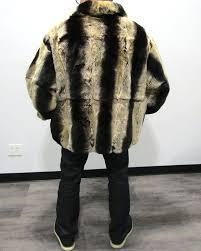 pre owned men s chinchilla dyed rex rabbit er 52 56 2x