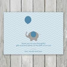 Baby Boy Thank You Cards Blue And Brown Photo Baby Boy Birth Announcement Thank You Card With