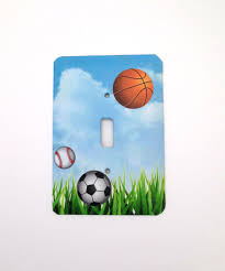 Sports Light Switch Plates Boys Sports Switch Plate Cover Soccer Baseball Basketball