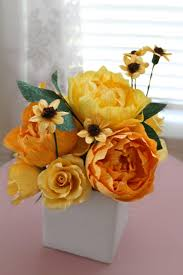 Paper Flower Wedding Centerpieces 1 Yellow Shade Peonies Centerpiece Paper Flowers Wedding